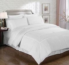 Chezmoi Collection 8 Piece Pleated Hem Solid Bed-in-a-Bag Comforter Set, Queen, White