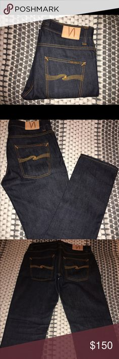 Nudie Jeans Navy Grim Tim Dry Ring size 32x32 Pre-owned Nudie Jeans Navy Denim Grim Tim Dry Ring size 32X32. Still like new. Had these jeans since last year but only wore a few times. Made with 100% Organic Cotton. Made in Italy. Nudie Jeans Jeans Slim