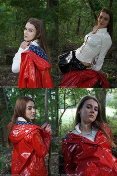 See Nina in the woods from head to toe in shiny vinyl clothes - white shirt, sexy black mini and gorgeous red vinyl mac. Red Raincoat, Vinyl Raincoat, Plastic Raincoat, Vinyl Skirt, Vinyl Clothing, Rain Suit, Sexy Legs And Heels, Rain Gear, Latex Girls