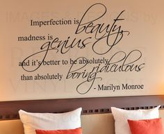 Small Black Decals | Wall Decal Sticker Quote Vinyl Art Imperfection is Beauty Marilyn ...