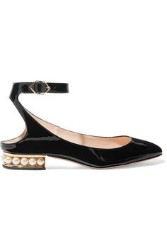 Heel measures approximately 15mm/ 0.5 inches Black patent-leather Buckle-fastening ankle strap  Made in Italy
