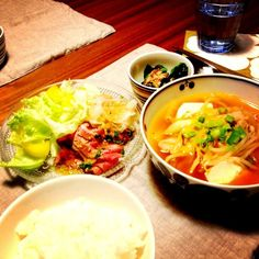 キムチの消費完了^_^; - 3件のもぐもぐ - スンドゥブ、ほうれん草のお浸し、サラダ by hana200720toy