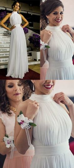 Youthful Round Neck Sleeveless Floor Length Pleated White Prom Dress,Floor Length Dress,Formal Evening · BanquetGowns · Online Store Powered by Storenvy Chiffon Evening Dresses, Evening Gowns, Bridesmaid Dresses, Wedding Dresses, Wedding Suits, Homecoming Dresses, Party Dresses, Bridesmaids, Beautiful Prom Dresses