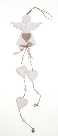 Angel with Bells - Wooden angel garland and tassels, heart and bead detail. The detail and quality of this decoration is simply angelic £8