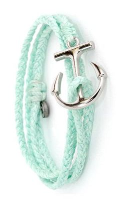 Silver Anchor Bracelet in Seafoam