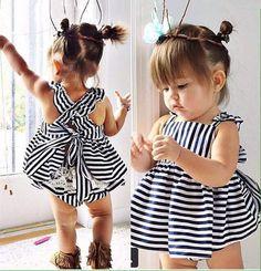 2015 summer Vestidos Baby Girl Vestidos los niños de princesa Dress de la raya del bebé vestido de la muchacha niños muchachas de la marca de ropa trajes en Vestidos de Bebés en AliExpress.com | Alibaba Group