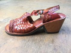 Vintage Leather Huaraches Sandals Heels Size Womens by lavaimaria