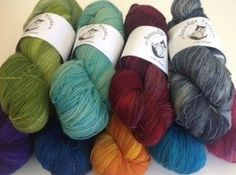 Smudge Yarns arrived today. Available in 100g hanks which will give you 700m - more than enough for a scarf or shawl. The colours are really beautiful, specially the dark ones.
