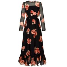 Nellie-Long-tiered-Dress-Black-Floral-Apricot-Rose (77.100 RUB) via Polyvore featuring dresses, long day dresses, flower print dress, floral print long dresses, long dresses и digital print dress