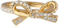 """kate spade new york """"Skinny Mini"""" Pave Bow Clear and Gold Ring, Size 7: Jewelry"""