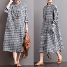 Retro Linen Plaid Casual Loose Dress – Linen Dresses For Women Hijab Casual, Unique Dresses, Vintage Dresses, Casual Dresses, Loose Dresses, Hijab Fashion, Fashion Dresses, Fashion Top, Fashion Brands