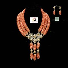"""When your bride decides to slay """"Arounke"""" in Coral and Gold... you know she knows what's up! Miss L thanks for trusting us with your bridal jewelryHolla for yours (08099440043). #TheCraftress #TheCraftressOnTheStrings#HandCraftedWithLove #Bride#Beads#Crystals#Jewelry #JewelryDesigner#NigerianJewelryDesigner #NigerianJewelry#Style#Gold#bellanaijastyle #Royalty#Royals#StatementNecklace #StatementNeckPiece#statementpiece#Dainty #YorubaBride#IgboBride#EdoBride #NigerianBride#WeddingGuest#Bespoke…"""