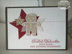 stampin Christmas Cookie cutter Christmas gingerbread man and greetings from santa ausgestochen weihnachtlich Lebkuchenmann und grüße vom Weihnachtsmann  weihnachten