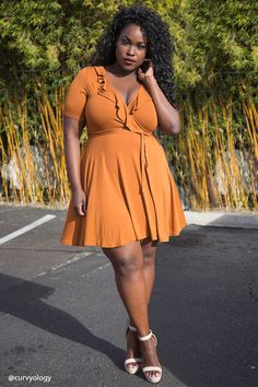 Forever 21+ - A knit dress featuring a surplice neckline with a ruffle trim, short sleeves, an elasticized waist, a self-tie sash, and a flared skirt.