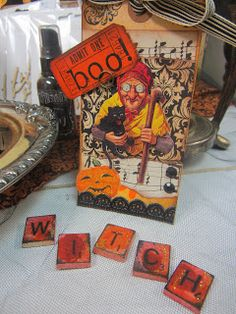 Scrabble Tile Halloween Witch Word display ~ The Paper Collage store