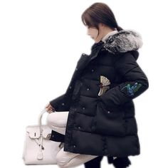 2017Fashion Women Winter Beautiful Embroidery Down Cotton Jacket Coat Ladies Thicken Padded Hooded Elegant Fur Collar ParkaCQ160 #Affiliate