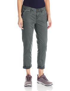 Gramicci Women's Boyfriend Chino Pants, Asphalt Grey, Size 4. Tencel Power Stretch: 65% Tencel, 32% cotton, 3% Lycra. Brushed fabric is soft against skin. Stash pocket plus two welt back pockets. Slim fit with stretch for comfort. Wash separately in cold water before wearing.