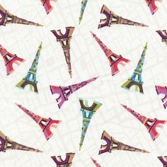 Fabric... You, Me, Oui Tossed Eiffel Towers by Gail Gadden for Timeless Treasures