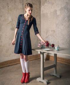 Marineblaues 60er Jahre Blusenkleid von Peppermint-Patty auf DaWanda.com