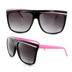 """Retro Flat Top Two Tone Wayfarer Sunglasses Optical Quality 80s Vintage - Black & Pink . $5.99. Size: 5.8"""" L x 2.3"""" H. Lens color: Black"""