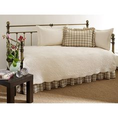 100% Cotton 5-Piece Daybed Bedding Set in Ivory - Quality House