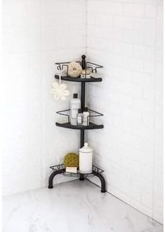 Home Zone HomeZone 3 Tier Corner Shower Caddy with Adjustable Shelves - Oil Rubbed Bronze Diy Shower, Shower Floor, Shower Rack, Bathroom Showers, Bathtub Shower, Shower Ideas, Corner Shower Caddy, Hanging Shower Caddy, Standing Shower