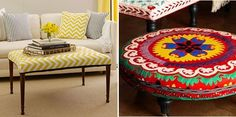 All of these DIY ottoman ideas are amazing! How to make an ottoman from scratch, or by repurposing other items like tires, coffee tables, and more! Pallet Ottoman, Diy Ottoman, Ottoman Ideas, Diy Furniture Decor, Furniture Fix, Cool Things To Make, Things To Sell, Vintage Crafts, Decor Interior Design