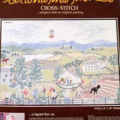 Grandma Moses BALLOON Stamped Cross Stitch Kit Americana Paragon Needlecraft Vtg by NeedleLittleTherapy on Etsy