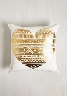 Amour Galore Pillow. If all you need is love, bringing this printed pillow into your home will give your decor the ardor youre searching for! #gold #modcloth