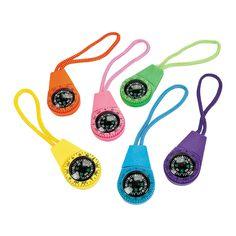 Neon Compasses on A Cord - OrientalTrading.com
