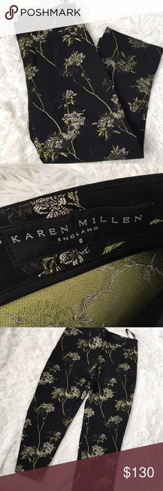 Karen Millen England pants floral HOW FREAKIN STYLISH ARE THIS ! With a matching pair of booties ! Or even black ones 😍  these are like new ! Can be worn with high waisted / mid Karen Millen Pants