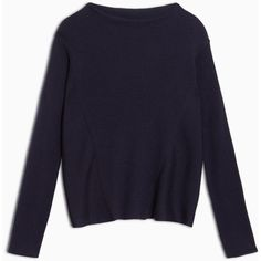 Max&Co. Ribbed jumper with funnel collar (€115) ❤ liked on Polyvore featuring tops, sweaters, midnight blue, long blue sweater, funnel sweater, long jumpers, kimono sleeve sweater and relaxed fit tops