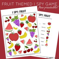 Free printable fruit themed I Spy game for kids from And Next Comes L