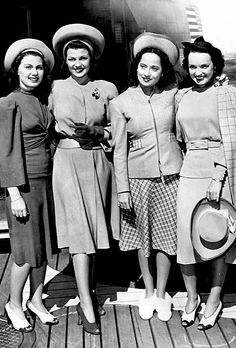 Rita Hayworth and Merle Orberon photographed with unknown starlets, circa 1941.