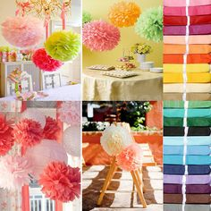 "100pcs Tissue Paper Pom Poms Flower Ball Wedding Party Birthday Decor 6""/8""/10"" #Unbranded #BirthdayBabyBridalShowerPartyWedding"