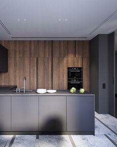 Modern apartment in Moscow Luxury Kitchen Design, Luxury Kitchens, Interior Design Kitchen, Modern Kitchen Cabinets, Kitchen Cabinet Design, Home Room Design, Minimalist Kitchen, Cuisines Design, Küchen Design