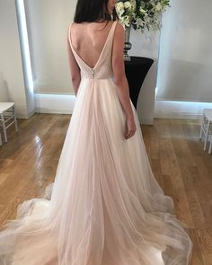 The Dawn wedding dress features trailing blush ombre for a soft sunrise-inspired effect. Find this beautiful tulle wedding ball gown at a retailer near you! Prom Dresses Two Piece, Prom Dresses With Sleeves, Colored Wedding Dresses, Tulle Wedding, Wedding Gowns, Dream Wedding, Bridal Gown Styles, Pretty Outfits, Pretty Clothes