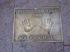 John Mills handprints at Leicester Sq London.