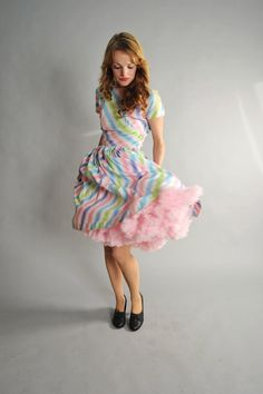 1950s dress // 50s candy striped summer dress // by coralvintage, $126.00