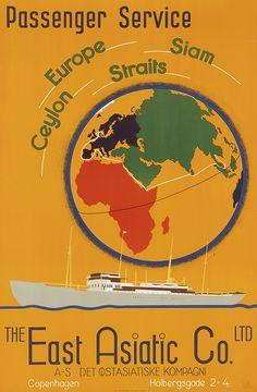 the East Asiatic Co - passenger service - Europe - Ceylon -Siam - 1950's - paquebot - illustration de Edmond Bille -