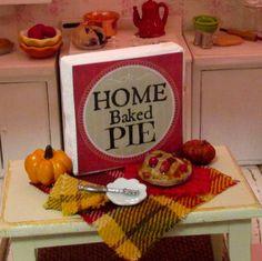 Cherry Pie Prep Scene-Dollhouse Miniature by RibbonwoodCottage