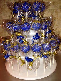 Royal Blue & Gold Glitter Cake Pops www.FriscoCakePopShop.com www.facebook.com/FriscoCakePopShop