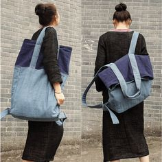 New fashion mixed color backpack&shoulder bag(linen material) | Buykud