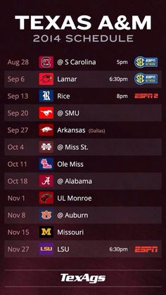Texas AM 2014 football schedule...whoop... So ready to see what is store this season!!!! Gig Em' AGGIES!!!!!! Aggie Football, Football Season, College Football, Aggie Ring, College Fun, Texas A&m, School Fun, Tailgating, Jersey Girl