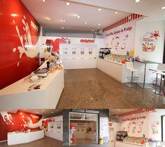 Decorazione Mamà yogurt-gelato a Peschiera del Garda con pellicole adesive stampate in digitale da muro e pannelli sagomati Yogurt Gelato, Decoration, Loft, Bed, Wrap, Furniture, Films, Home Decor, Frozen Yogurt