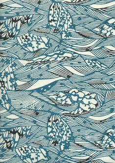 Papier japonais katazome - Motif vagues stylisées bleues : Papiers et albums par chiyogami-touch
