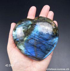 Coeur Labradorite XXL 9 x 8,5 x 3,9 cm épais. Pièce unique 457 Grammes Labradorite, Gramm, Stones, Unique, Crystals, Angels, Minerals, Switzerland, Heart
