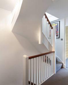 Blackheath house modern corridor, hallway & stairs by ape architecture & design ltd. Loft Staircase, House Stairs, Staircase Design, Attic Stairs, Staircases, Carpet Staircase, Staircase Railings, Loft Conversion Plans, Loft Conversion Stairs