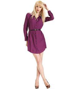 GUESS Dress, Cheryl Long-Sleeve Belted Shirtdress