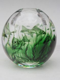 GREEN FISH GRAAL Mid Century EDWARD HALD Orrefors Glass Aquarium Ball Vase 1950s